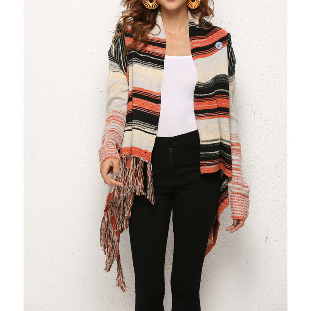 Thick Knitwear Crewneck Long-Sleeve Stripe Knitted Outwear