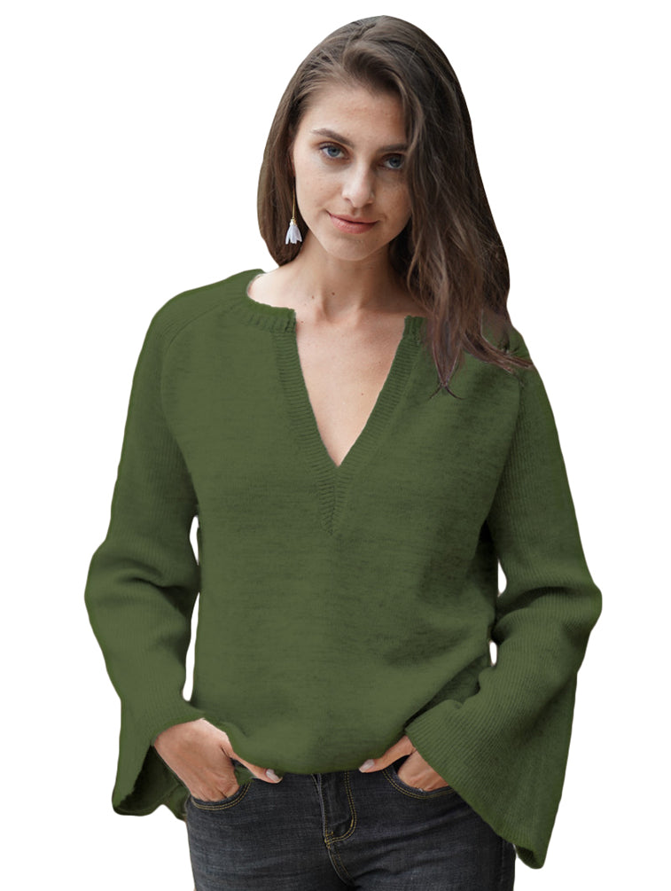 Casual Knitwear Long Sleeve Solid Color V Neck Pullover