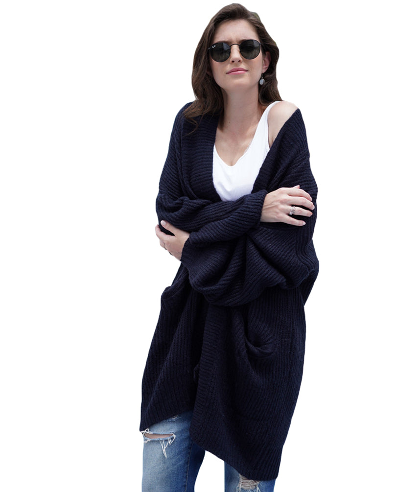 Ladies Knitwear Warm Loose Long Sleeve Mid-Long Outerwear