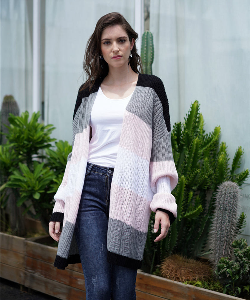 Casual Outerwear Long Sleeve Striped Mid-Long Open Front Cardigan