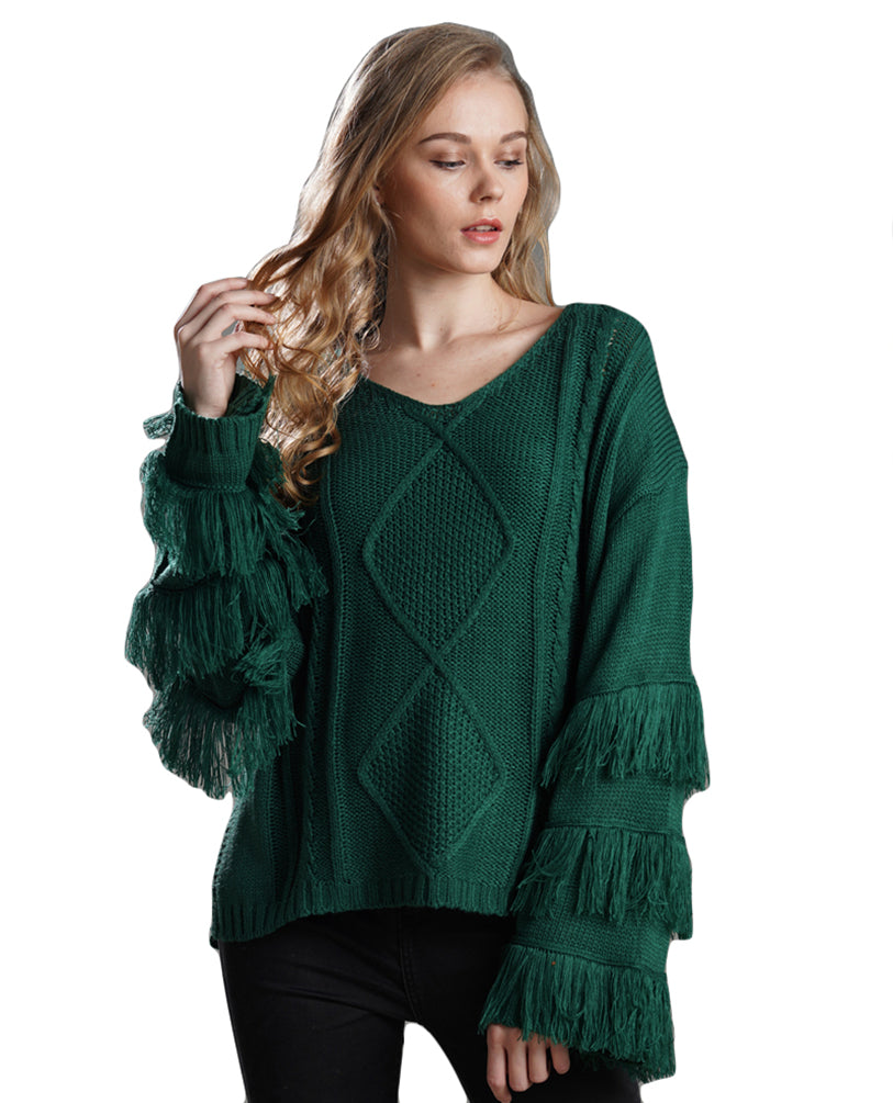 Women Knitwear V Neck Tassel Long Sleeve Knitted Jumper