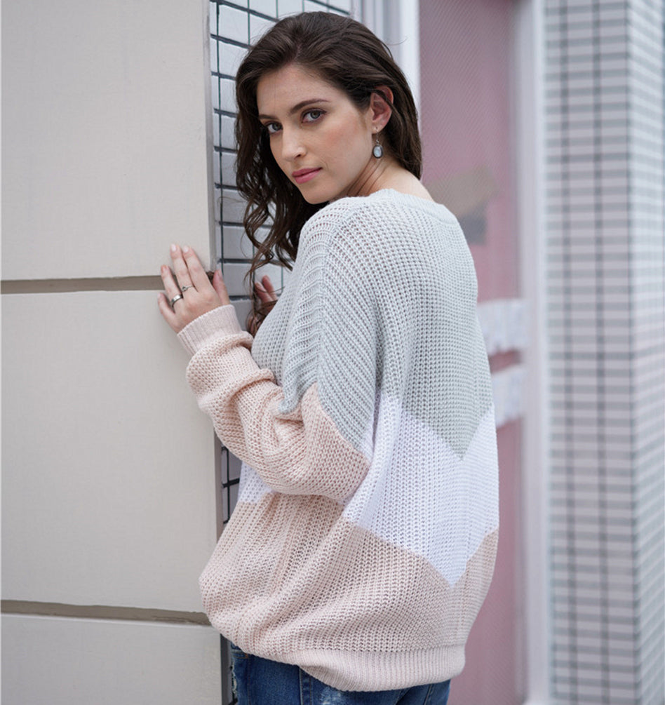 Casual Knitwear Round Neck Striped Sweater Pullover