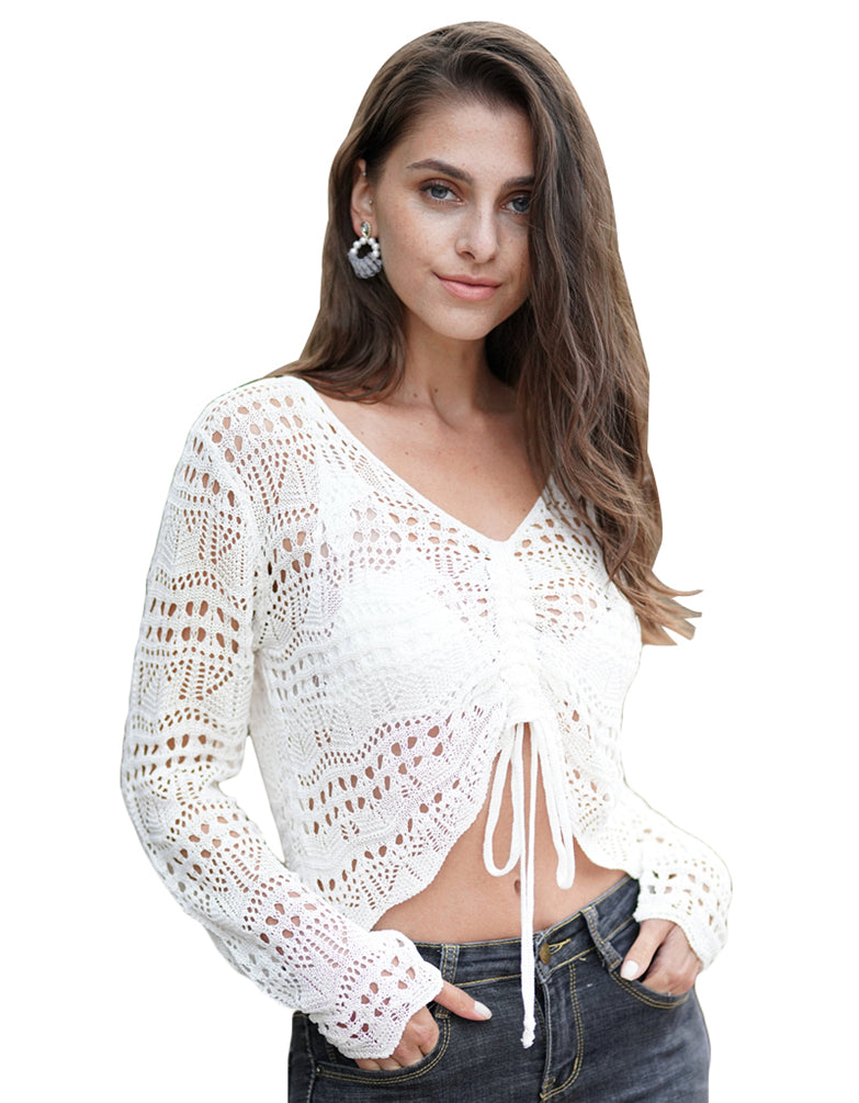 Women Crop Tops Long Sleeve Sarong Wrap Blouse