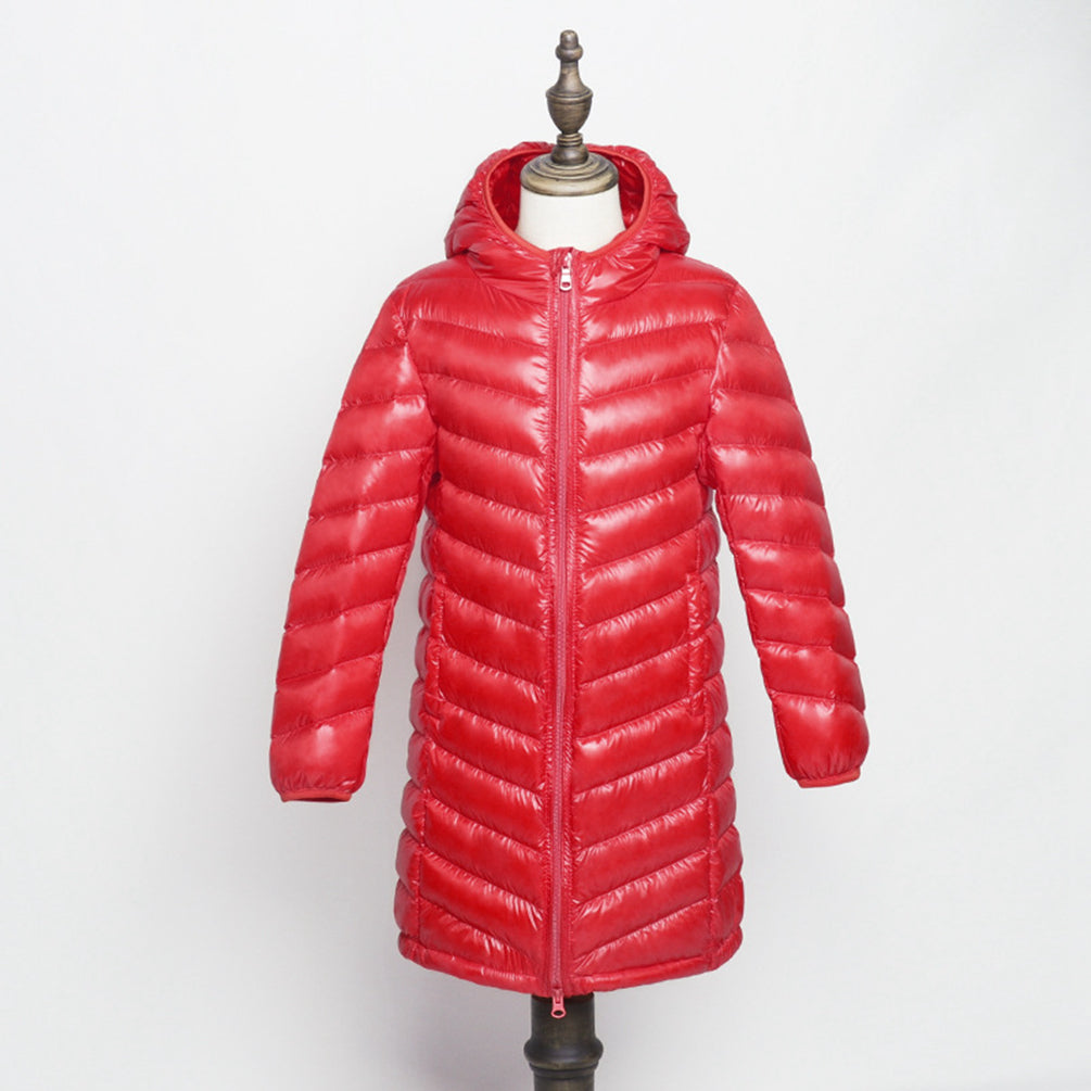 Girls Long Padded Jacket Lightweight Hooded Outerwear