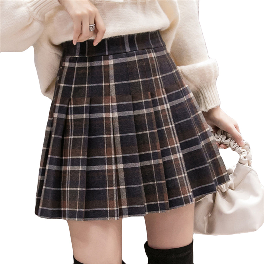 Women Skirt Casual Plaid Pleated Skirt With Inner Shorts