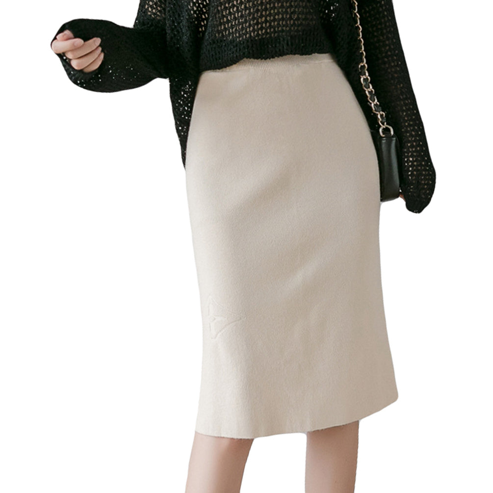 Women Slim Skirt High Waist Knitted Long Skirt