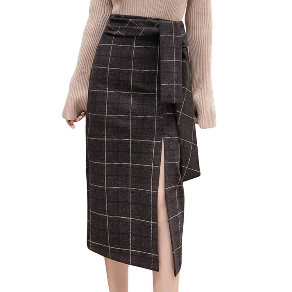 A-Line Skirt High Waist Midi Length Plaid Skirt