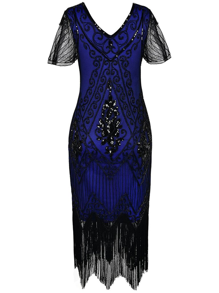 1920s Dress Hand-embroidered Beaded Sequined V-neck Short-sleeved Dress