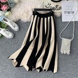 Stripe Ladies Skirt Hepburn Style Vintage Midi Skirt