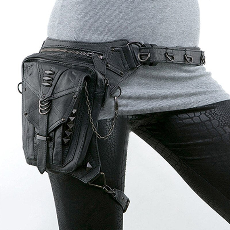 Vintage Bag Waist Packs Gothic Punk Occult Thigh Crossbody Bag