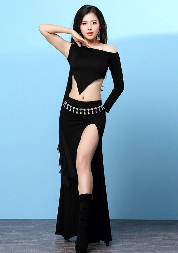 Women Belly Dance Costumes Performance Dancing Wear Tops Shirts and Skirt