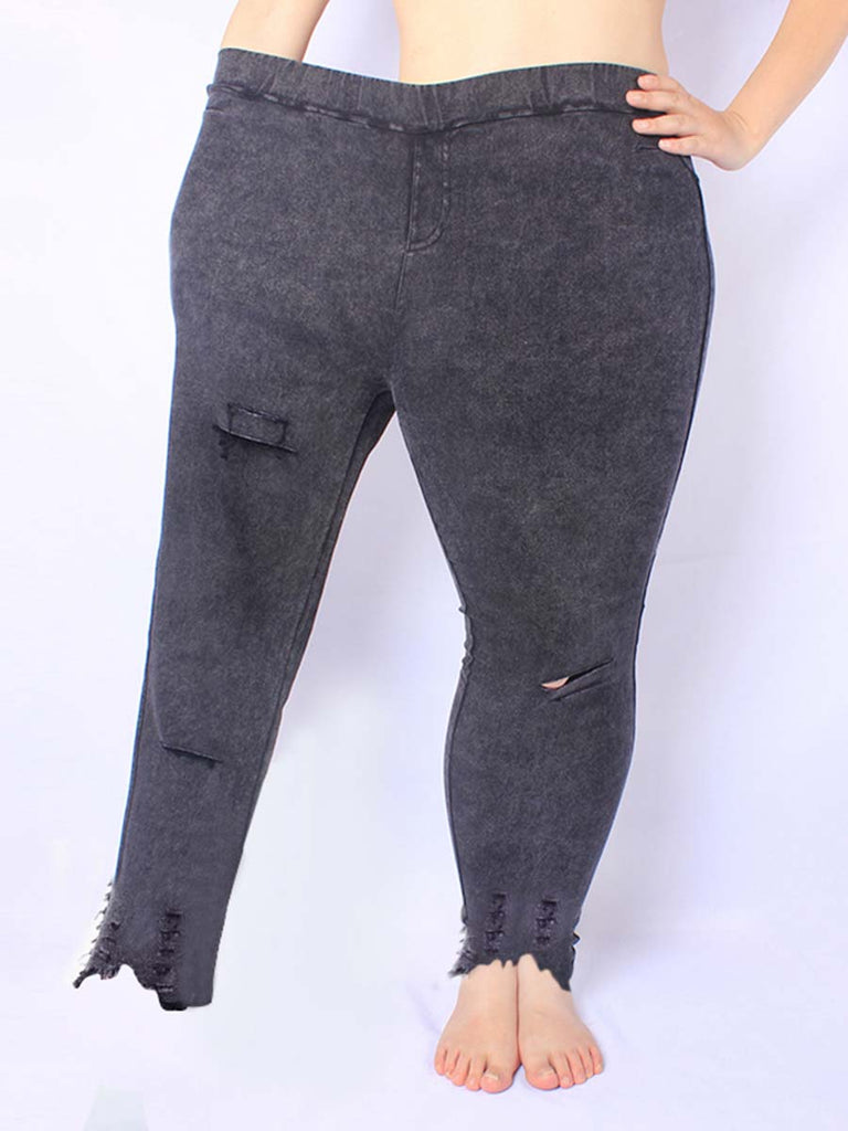 Black Pants Cool High Waist Hole Ripped Pencil Trousers