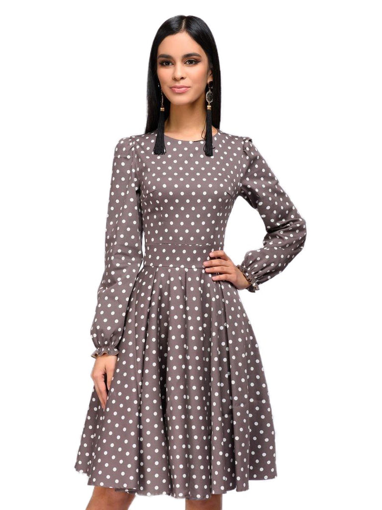 Womens O-Neck Dress Long Sleeve Dot Printing Vintage A-line Dress