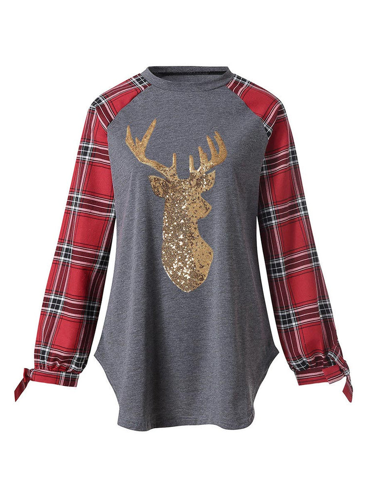 Festival Shirt Christmas Gold Reindeer Long Sleeve T-shirt