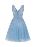 Appliques V-neck Ball Gown Sleeveless Beaded  Knee-length Dress