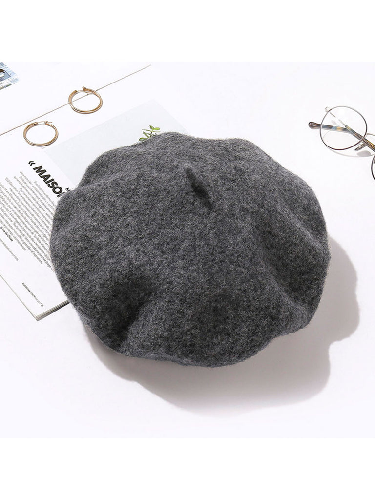 Women Accessories Solid Color Wool Beret