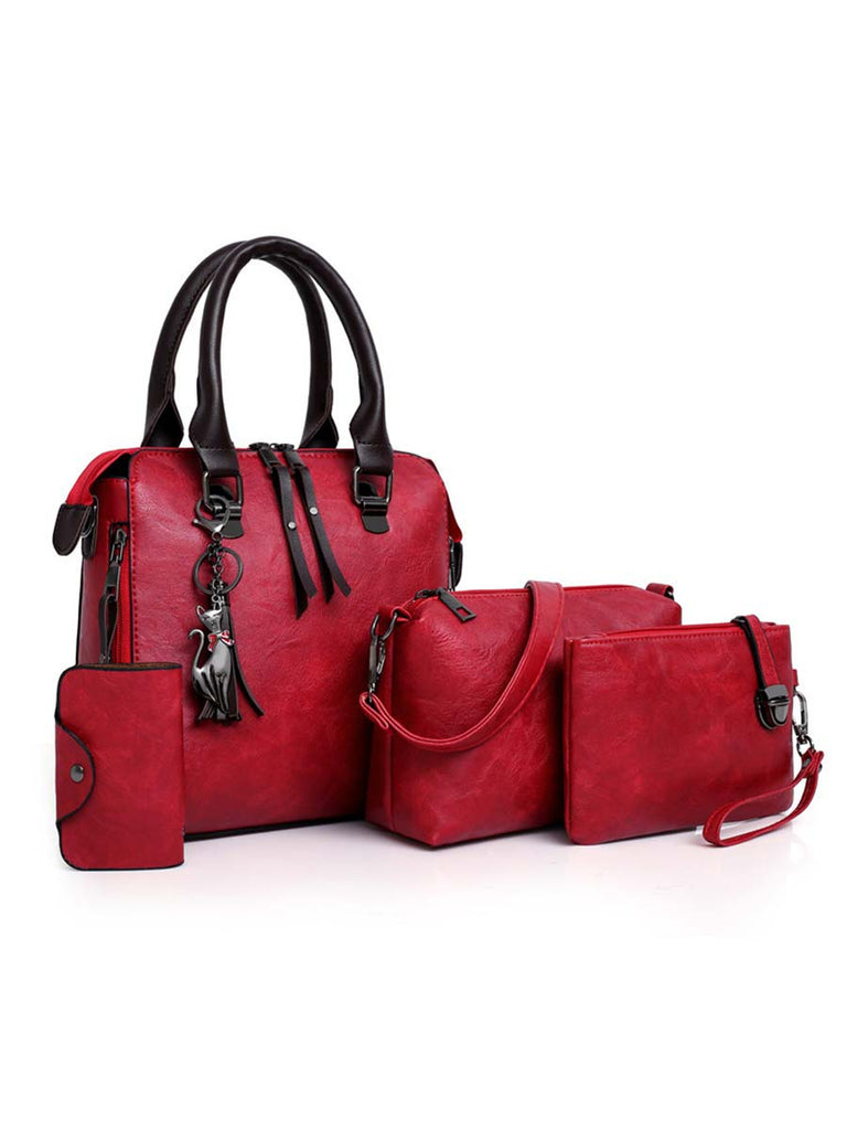 Women Composite Bag 4pcs/Set High-Quality PU Leather Handbag