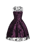 1950s Style Sleeveless Swing Dress Lace Flower Print A-line Dress