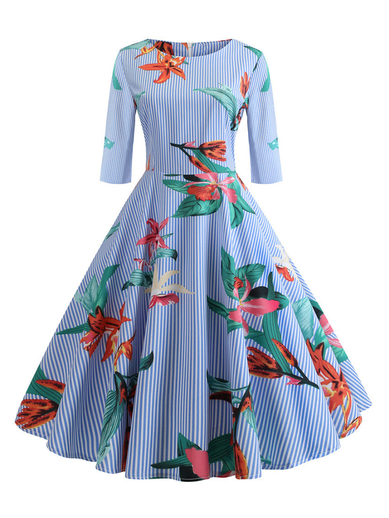 Womens Half Sleeve Dress Floral Print  Elegant Office A-line Dress