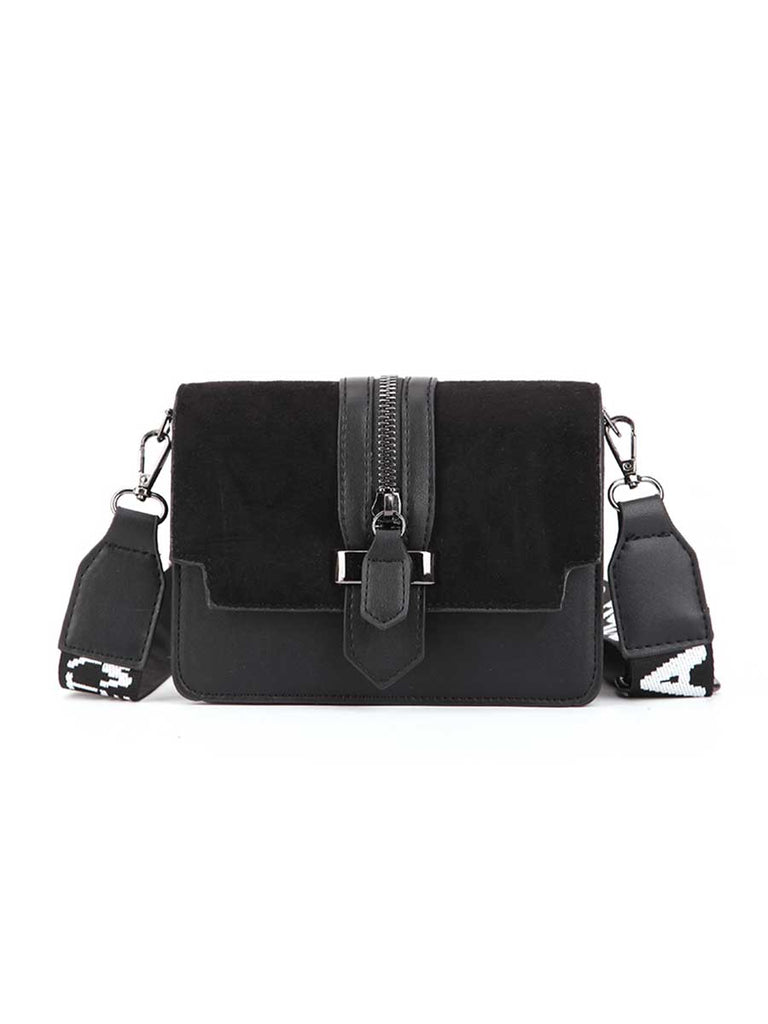 Simple Style Wide Strap Zipper Crossbody Bag