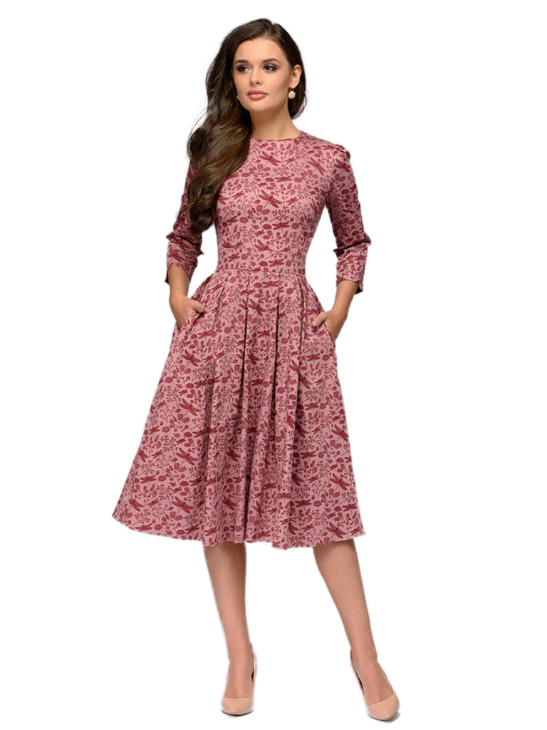 Womens Casual Dress 3/4 Sleeves Vintage Pocket Decor A-line Dress