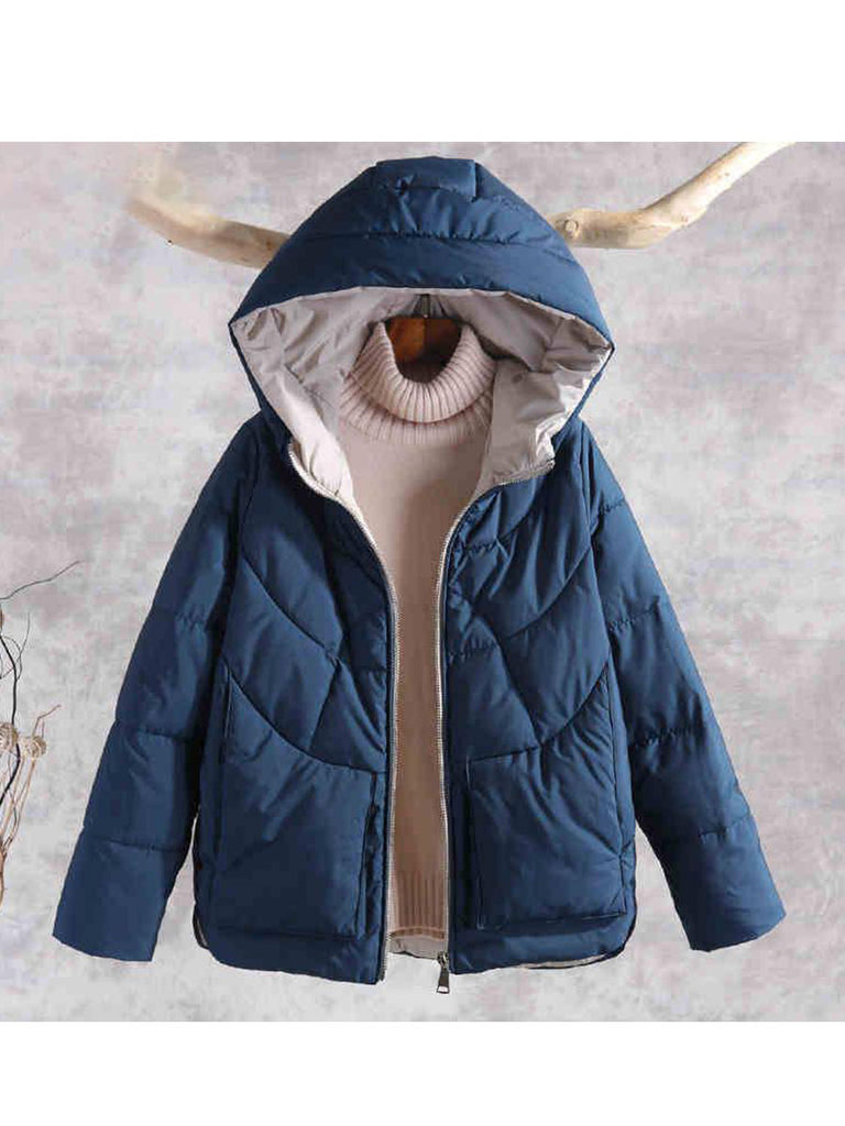 Warm Thick Jacket Casual Hooded Cotton Parka Outerwear