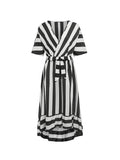 Vintage Plus Size Dress Short Sleeve Ruffle Striped Long Dress