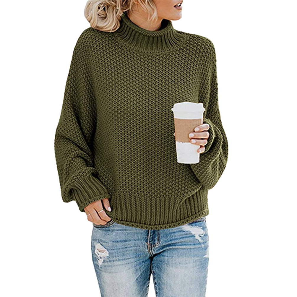 Women Turtleneck Tops Knit Long Sleeve Pullover Sweater