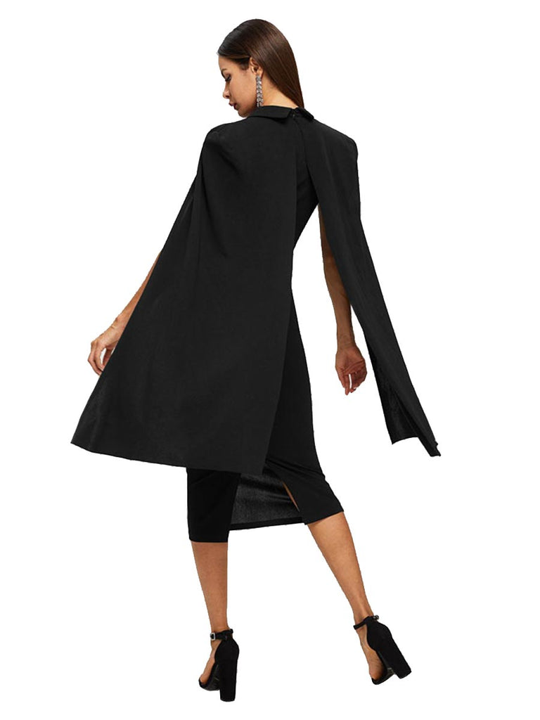 Elegant Party Dress Deep V Neck Cape Sleeve Pencil Dress