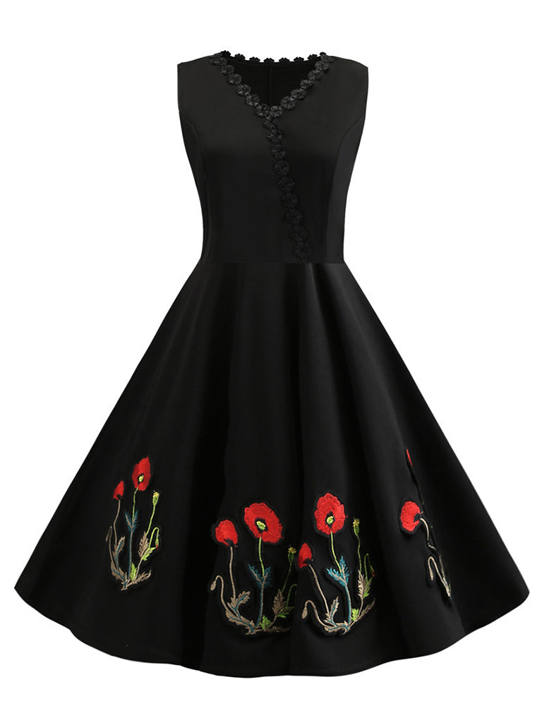 50s Swing Dress Elegant Embroidered Midi Dress
