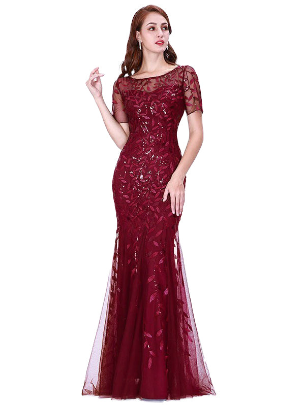 Formal Dress O Neck Lace Appliques Mermaid Maxi Long Dress