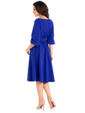 O-Neck Knee-Length Dress Pocket Sashes Lantern Half Sleeve Dress