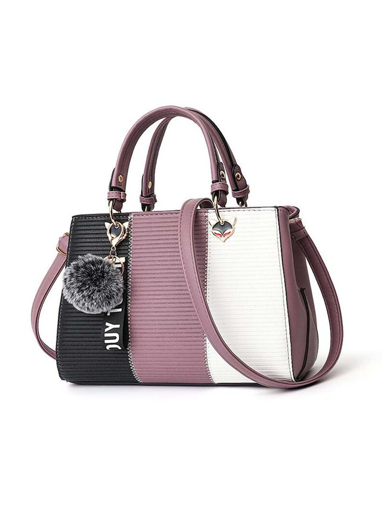 Ladies Patchwork Hairball Ornament Crossbody