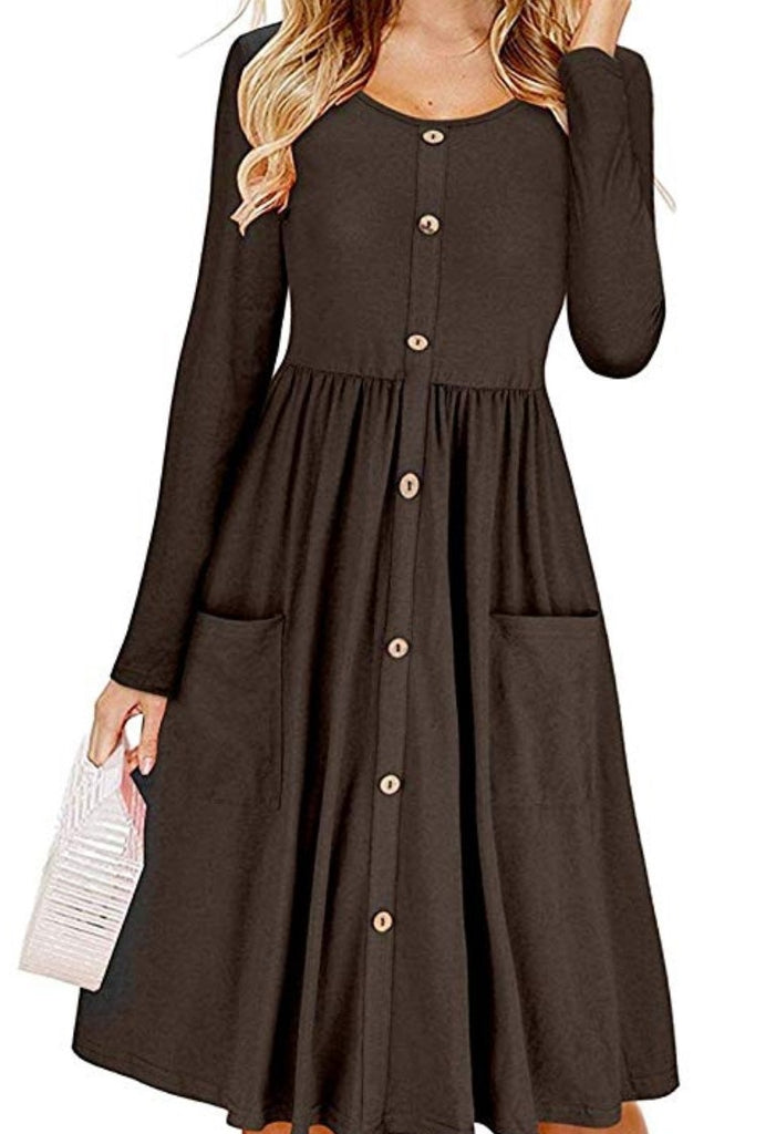 Women's Solid Color O Neck Long-sleeved Button Design Dress