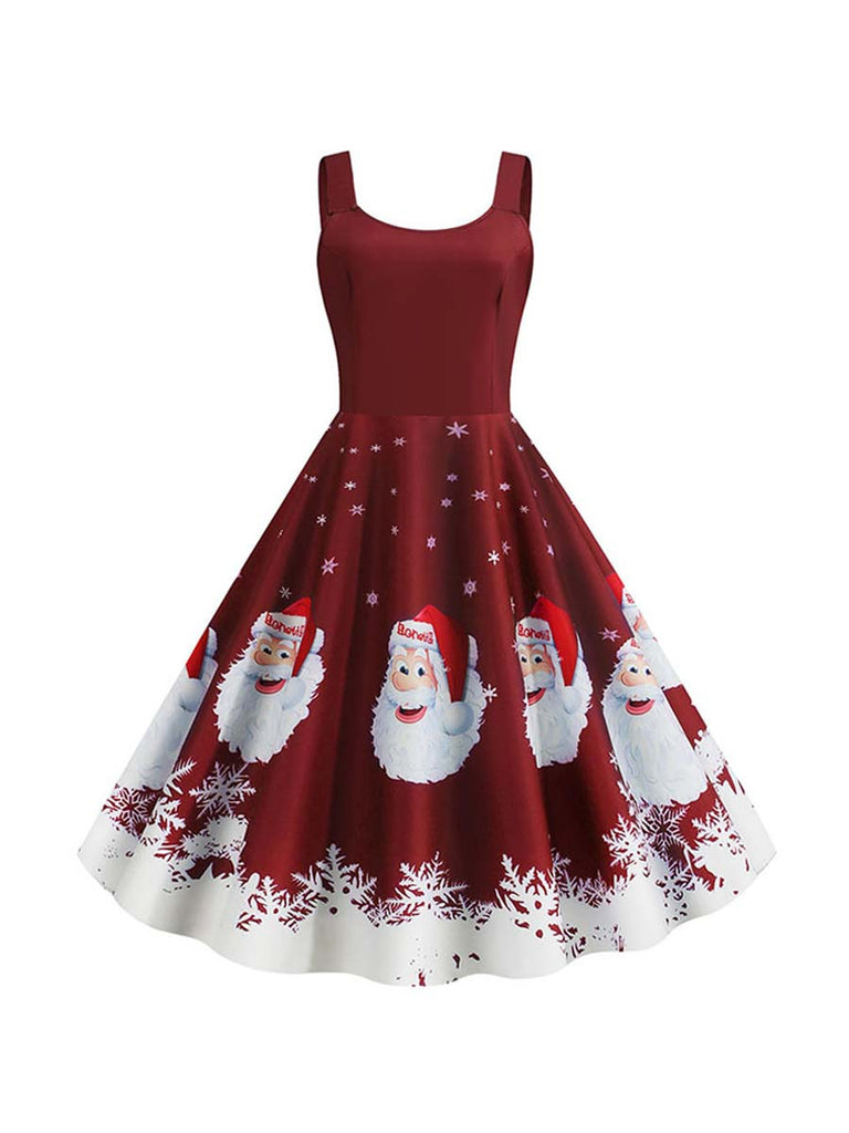 Christmas Dress Robe Santa Snowflake Print Spaghetti Straps Dress