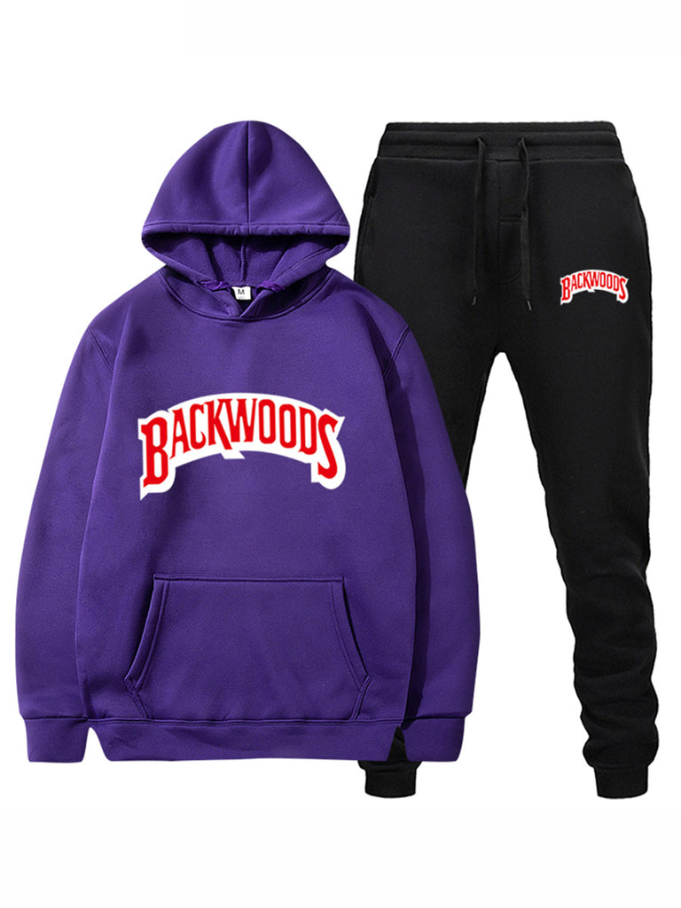 Streetwear BACKWOODS Men's Hoodie set Tracksuit Sportswear Hoodies and Pants Suit