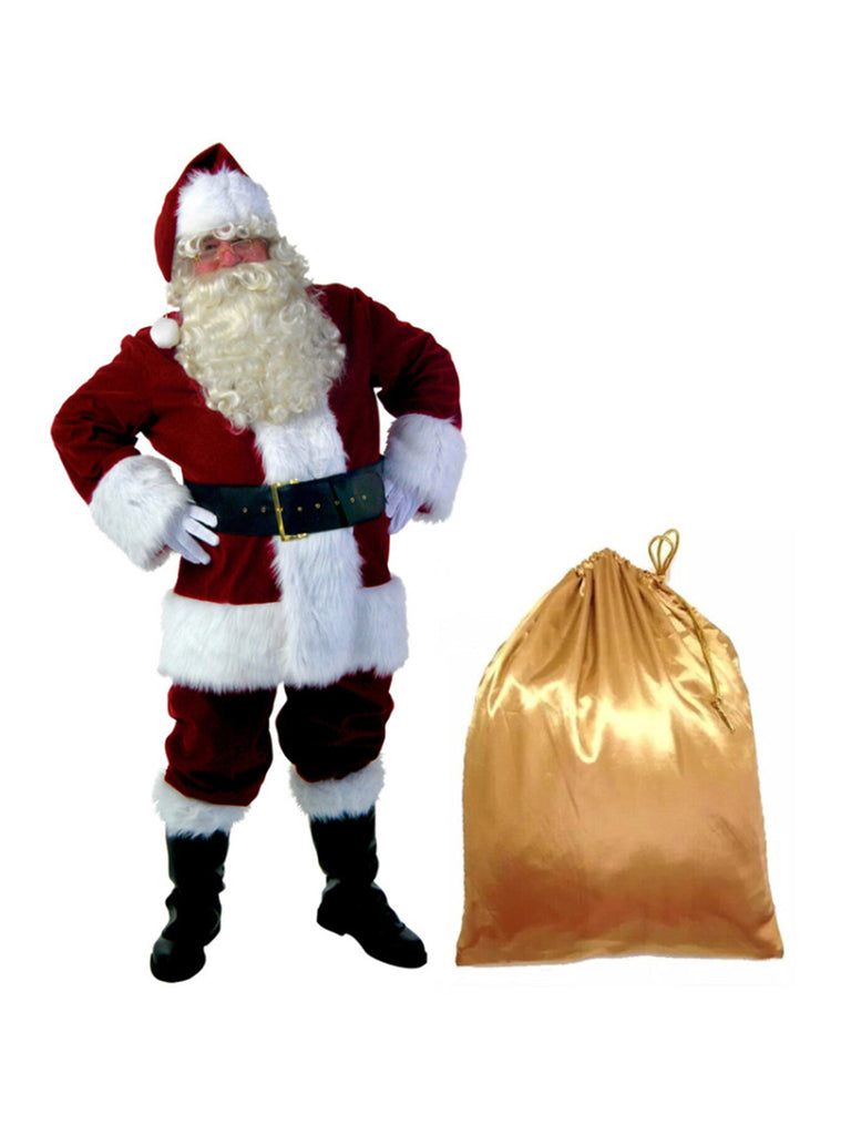 10 Pcs Christmas Set Cosplay Santa Claus Costume