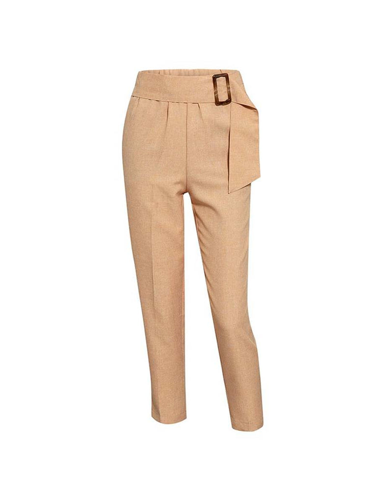 Office Ladies Pants Elegant High Waist Solid Sashes Harem Pants