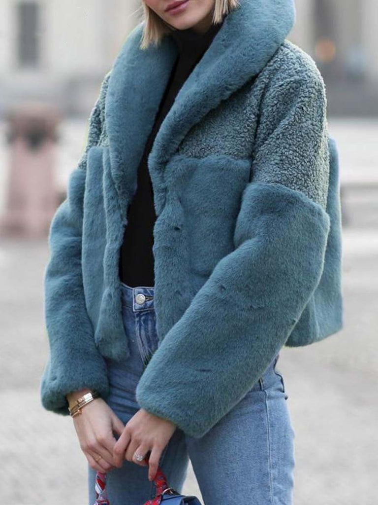 Warm Overcoat Patchwork Faux Fur Short Coat