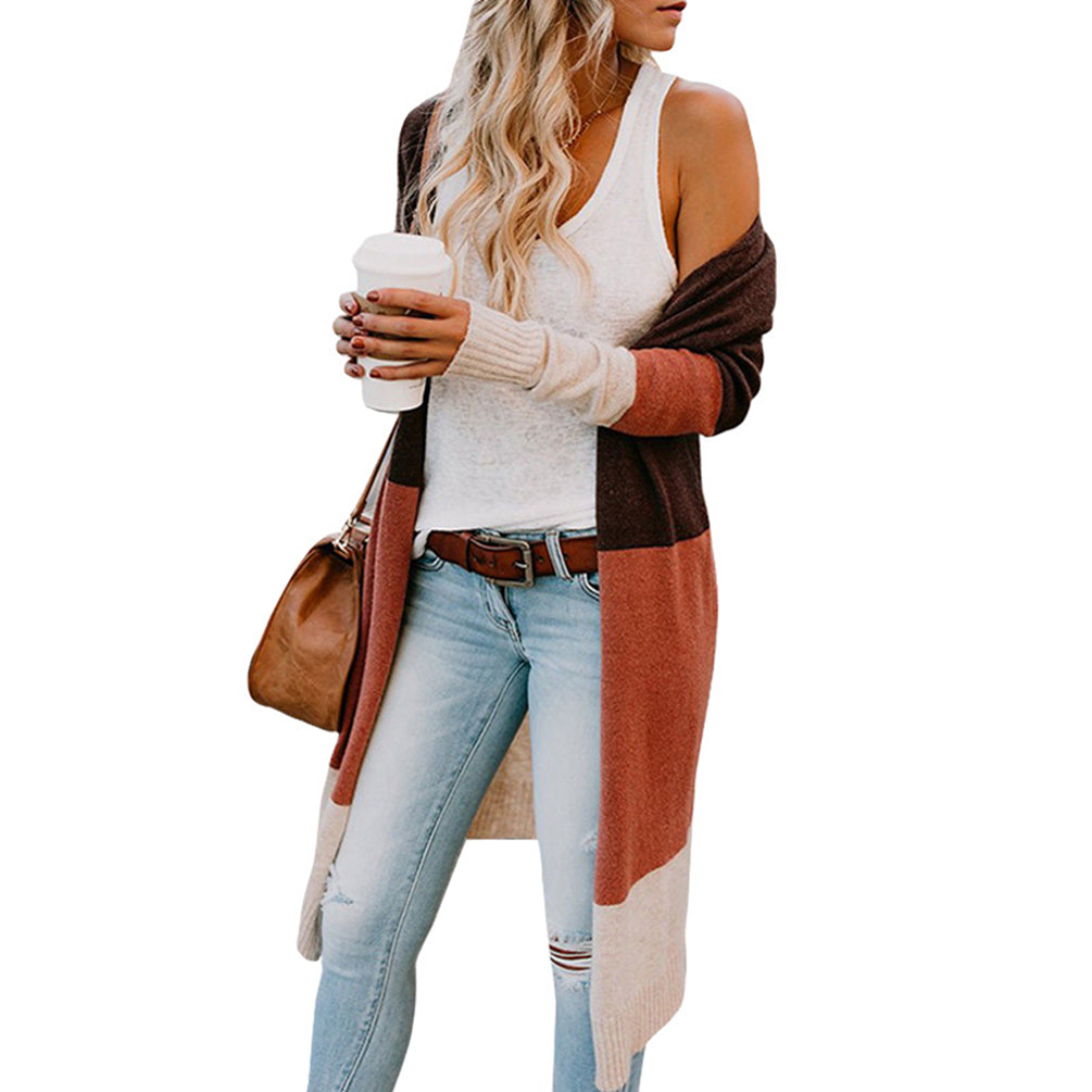 Color Stitching Cardigan Long Sleeve Open Front Knit Midi Long Top