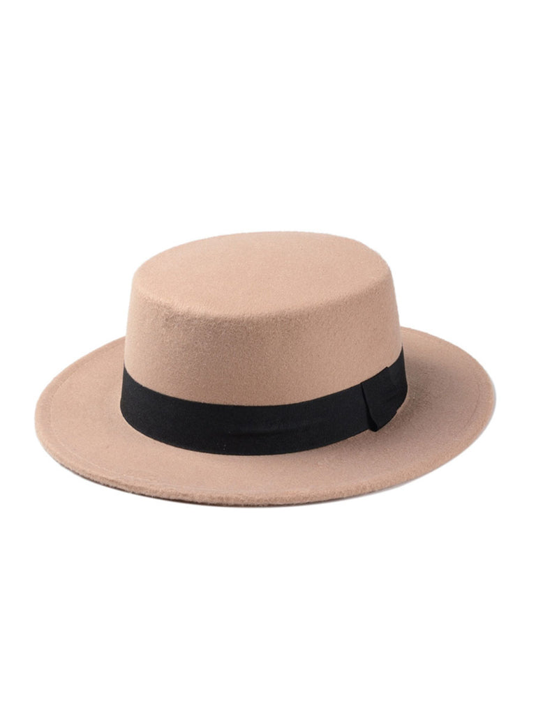 Flat Top Hat Women Wide Brim Fedora Hat