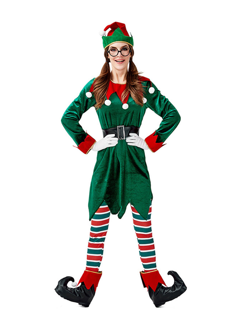Ladies Christmas Elf Cosplay Costumes Set (7 Pcs. Per Set)