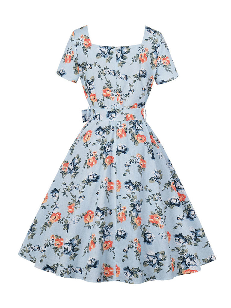 Flora Elegant Dress 50s V-Neck Short Sleeve High Waist Retro Dress