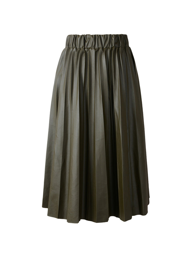 Ladies Midi Skirt Black PU Faux Leather Pleated Skirt