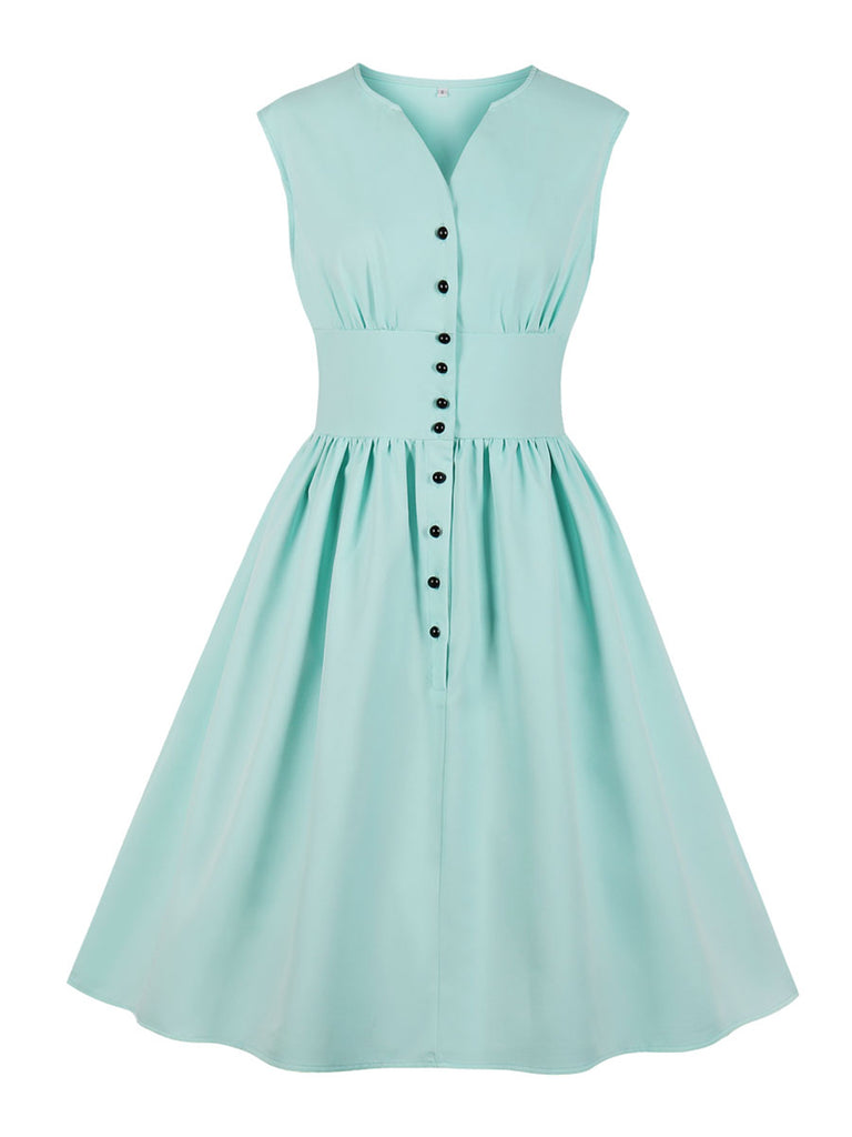 1940s Dress Solid Color Sleeveless Retro Style Dress
