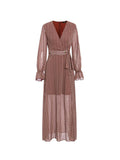 Casual Dress Geometric Pattern Long Sleeve V Neck Maxi Long Dress