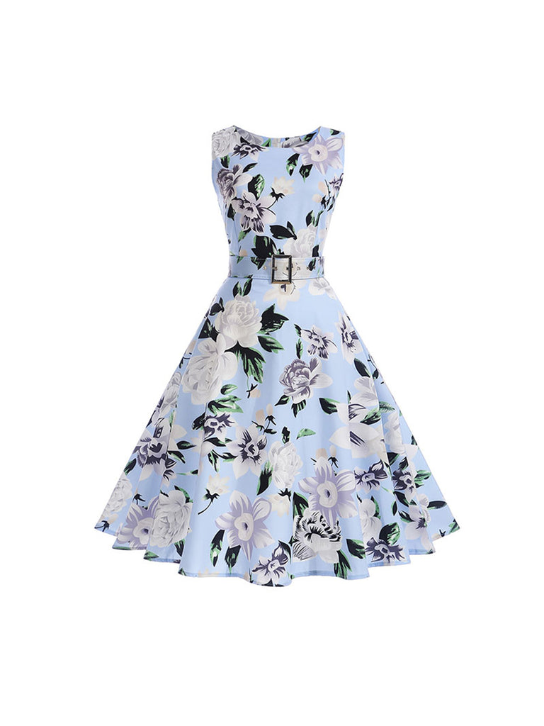 50s Dress Floral Sleeveless Party Dress Come With A Belt