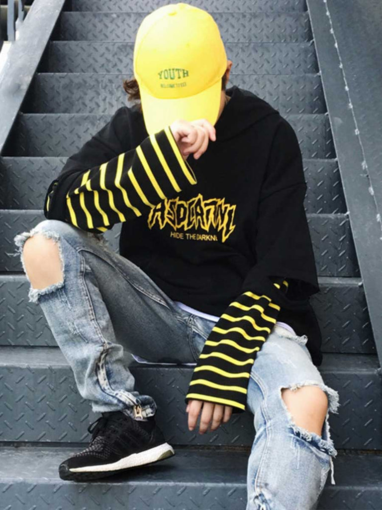 Punk Hooded Sweatshirt Stripe Patchwork Long Sleeve Streetwear Tracksuit