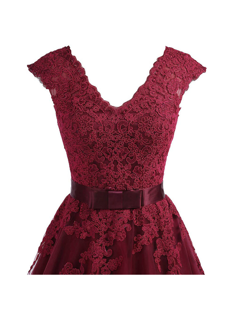 Womens V-Neck Lace Dress Cap Sleeves Tea-Length Homecoming Dress
