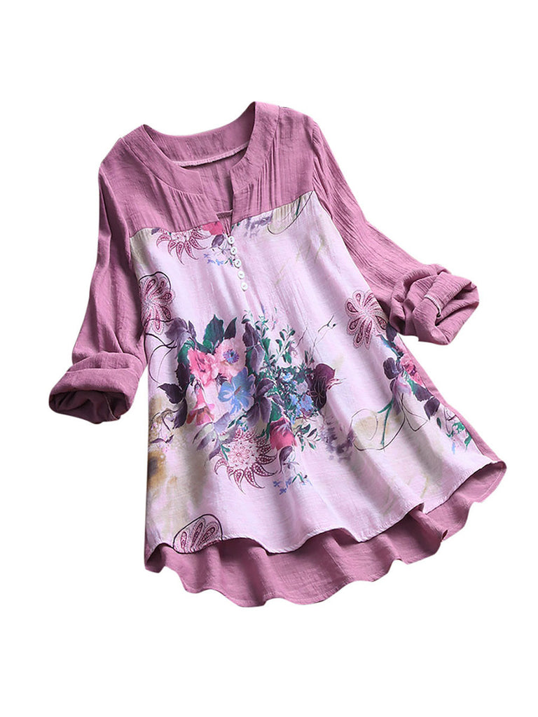 Women Blouse Elegant V-Neck Floral Printing Long Sleeves Shirt